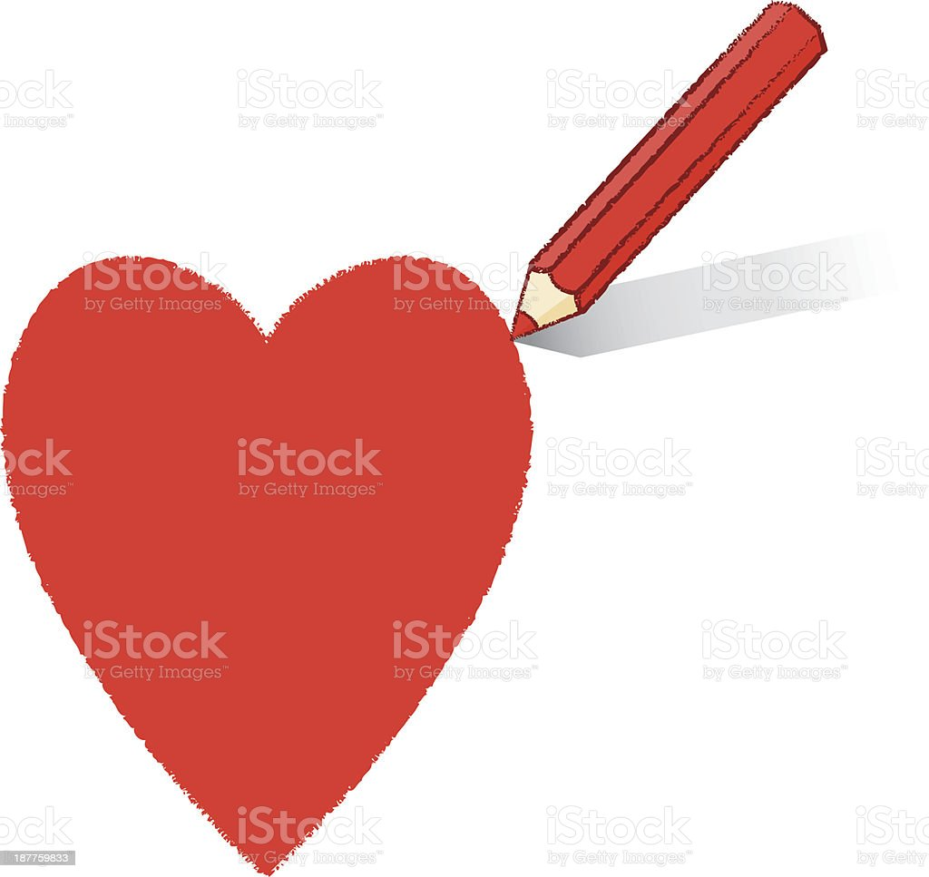 Red Pencil Drawing Ace of Hearts Playing Card Icon royalty-free stock vector art
