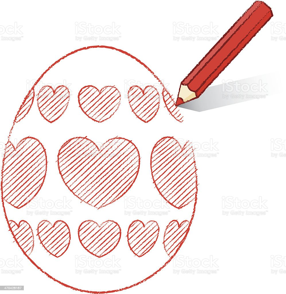 red pencil drawing easter egg with hearts stock vector art