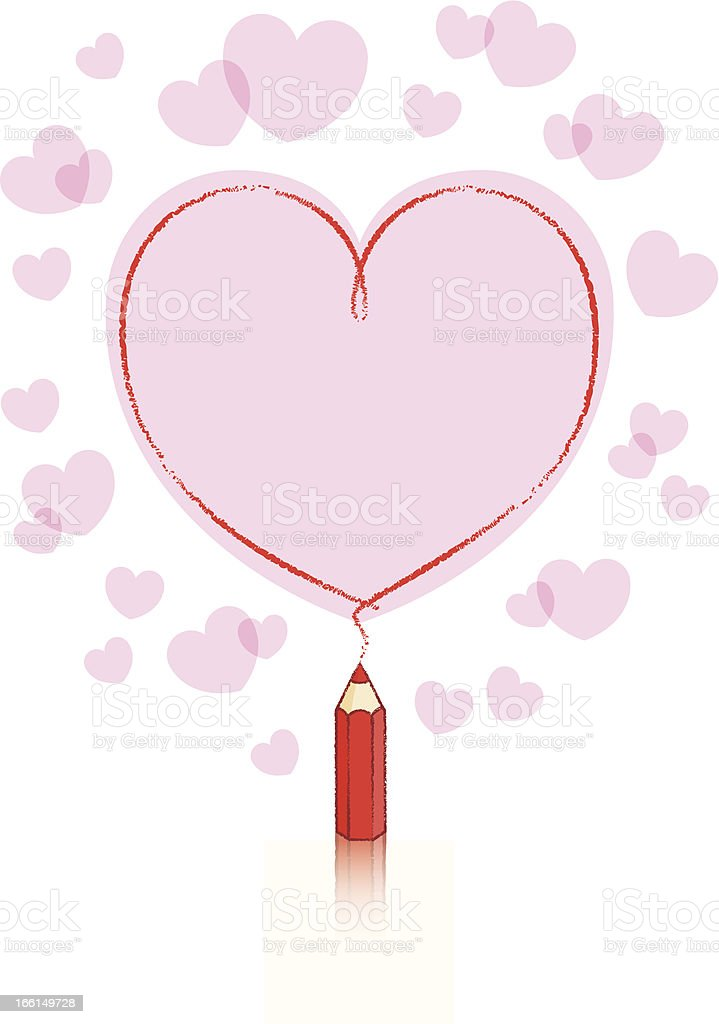 Red Pencil Drawing Heart Shape with Pink fill and Border royalty-free stock vector art