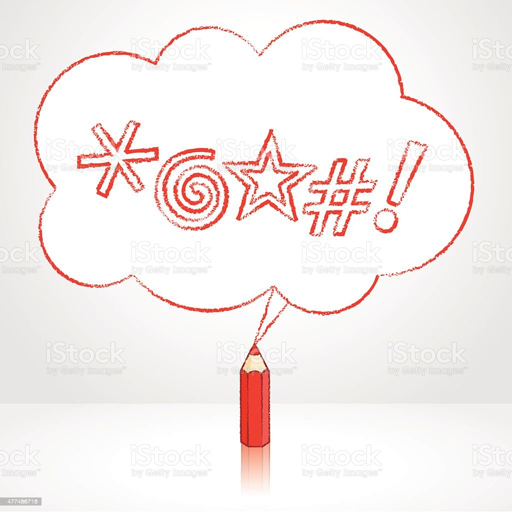 Red Pencil Drawing Swearing Icons Fluffy Cloud Speech Balloon vector art illustration