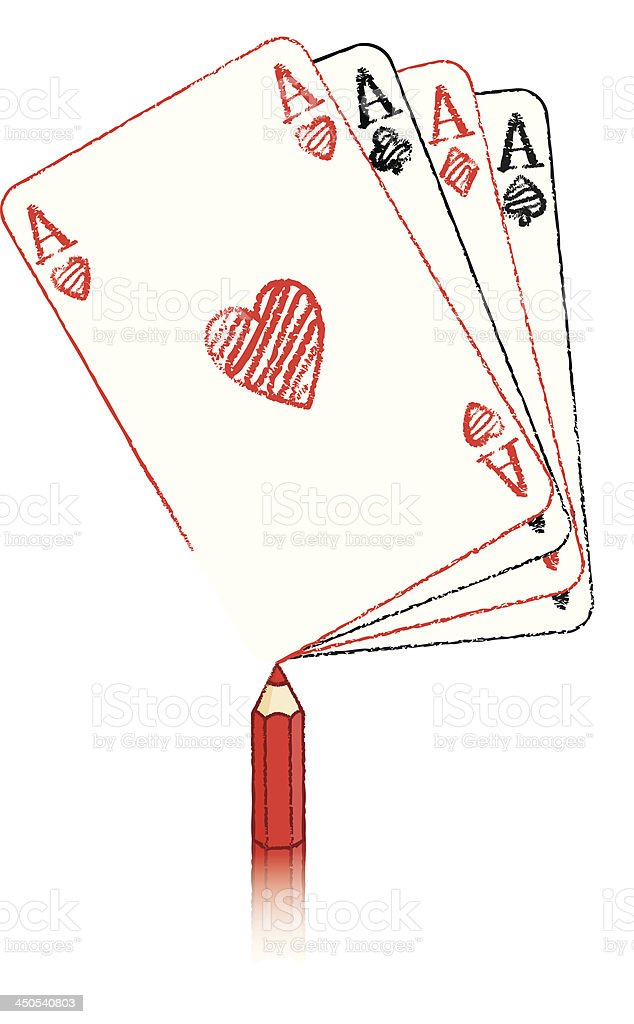 Red Pencil Drawing various Ace of Hearts fanned cards royalty-free stock vector art