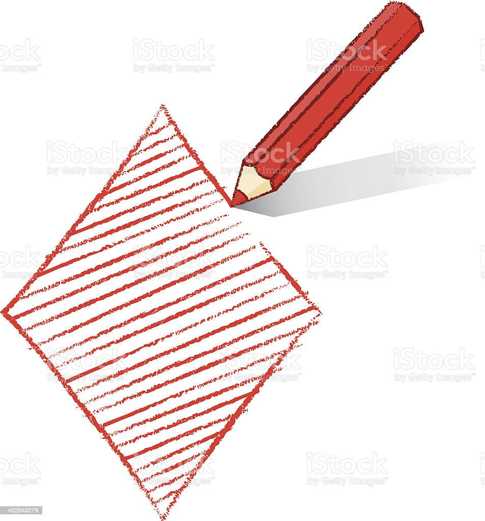 Red Pencil Shading Ace of Diamonds Playing Card Icon royalty-free stock vector art