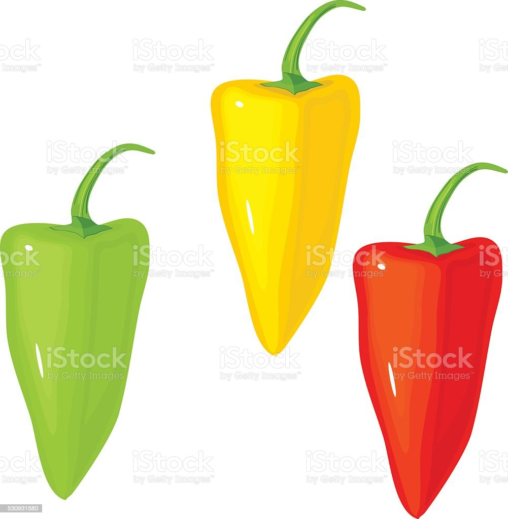 Red pepper, green pepper and yellow pepper vector art illustration