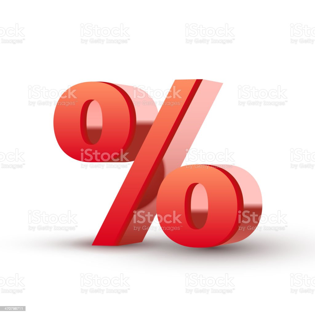 red percentage symbol vector art illustration