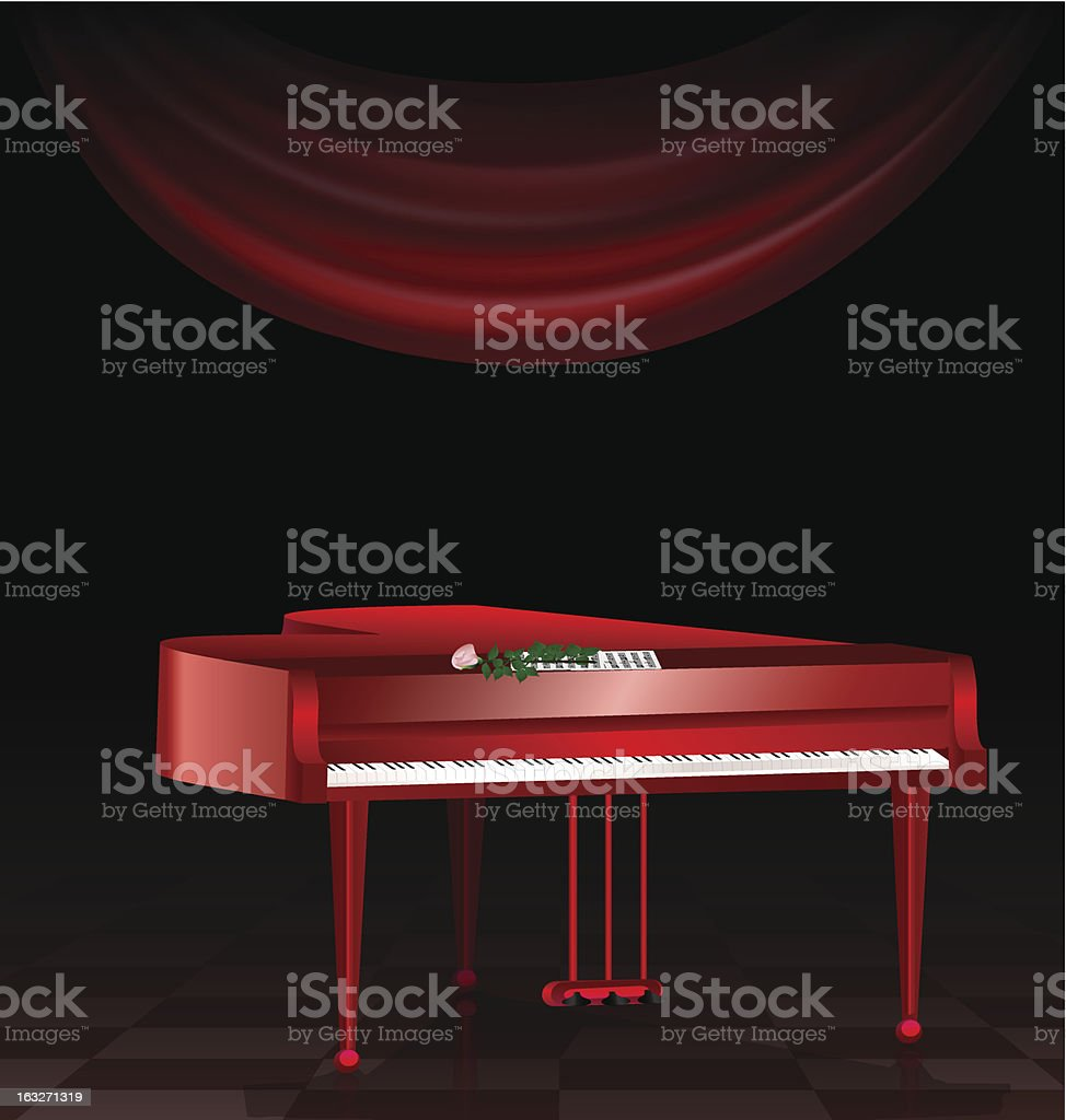 red piano and dark room royalty-free stock vector art
