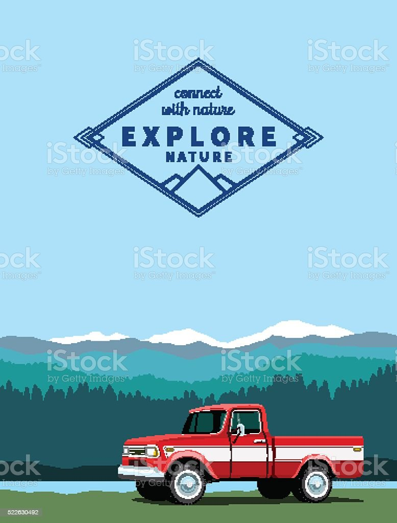 Red pickup truck vector art illustration