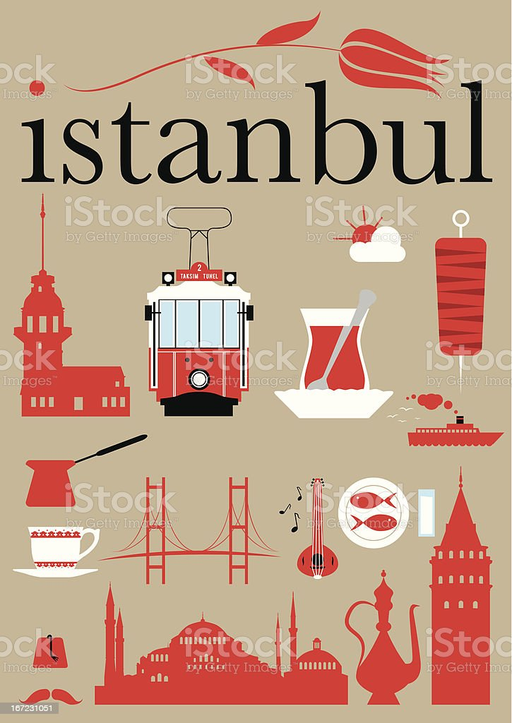 Red pictograms set with Istanbul theme vector art illustration