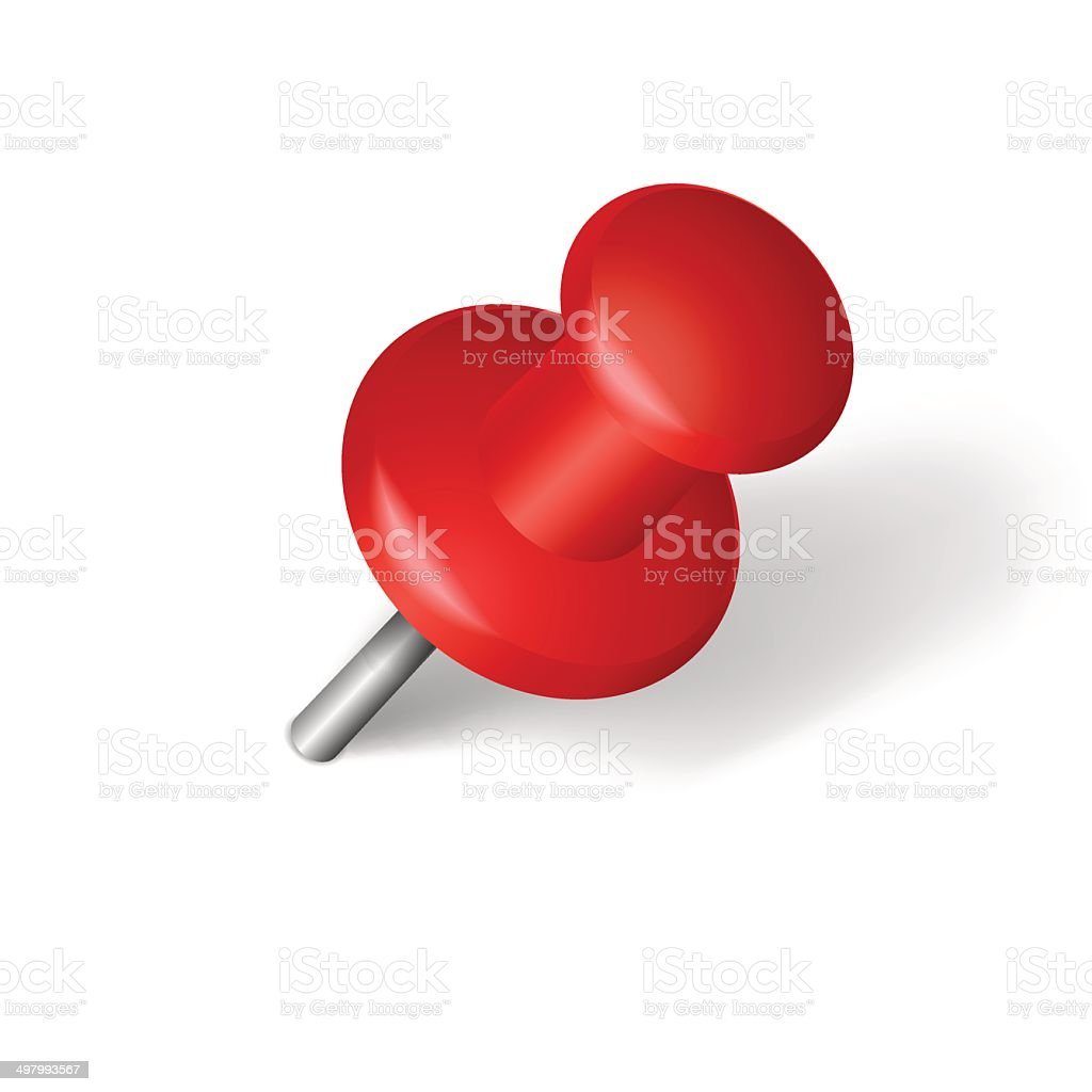 Red pin over white vector art illustration