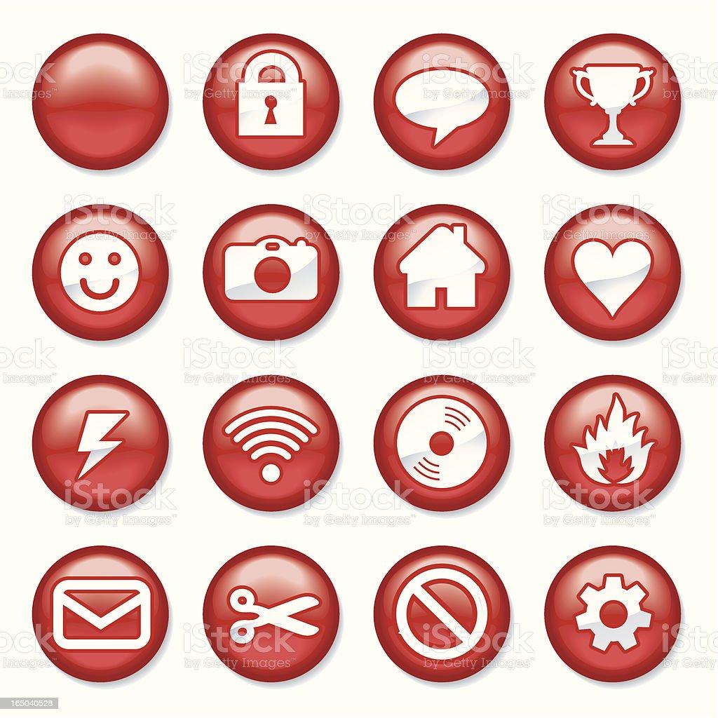 Red Plastic Buttons vector art illustration