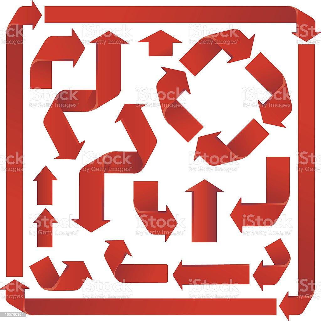 Red  Pointer Arrows vector art illustration