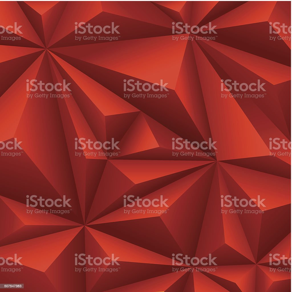 Red polygon background. vector art illustration