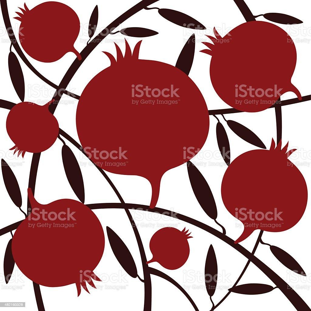 Red Pomegranates On White  Background vector art illustration