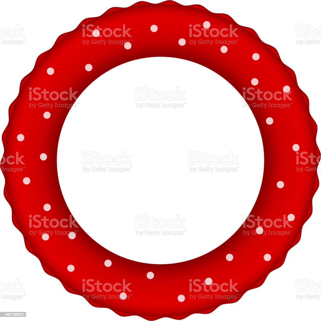 Red pool ring with white dots vector art illustration