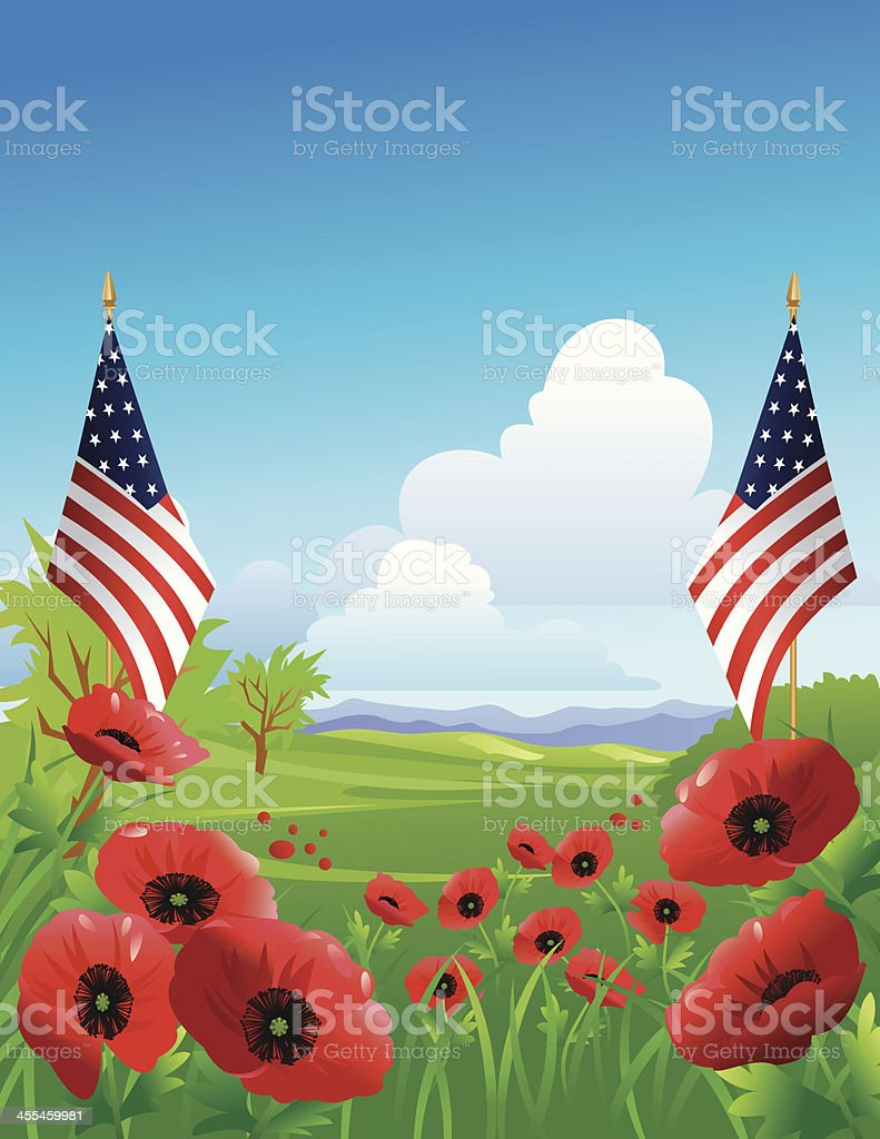 Red Poppies in field with American Flags vector art illustration