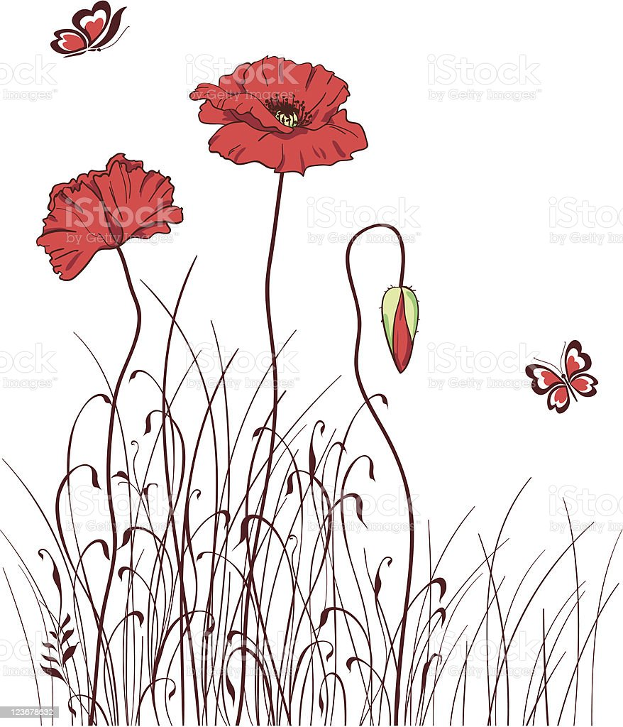 red poppy meadow vector art illustration