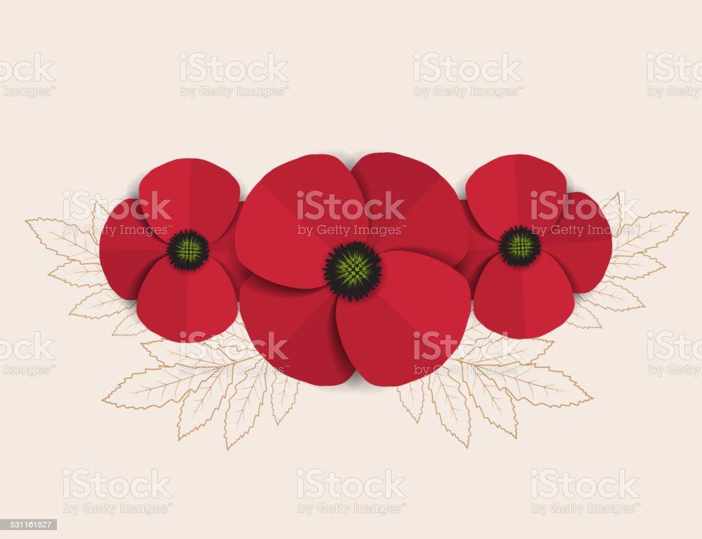 Red Poppy vector art illustration