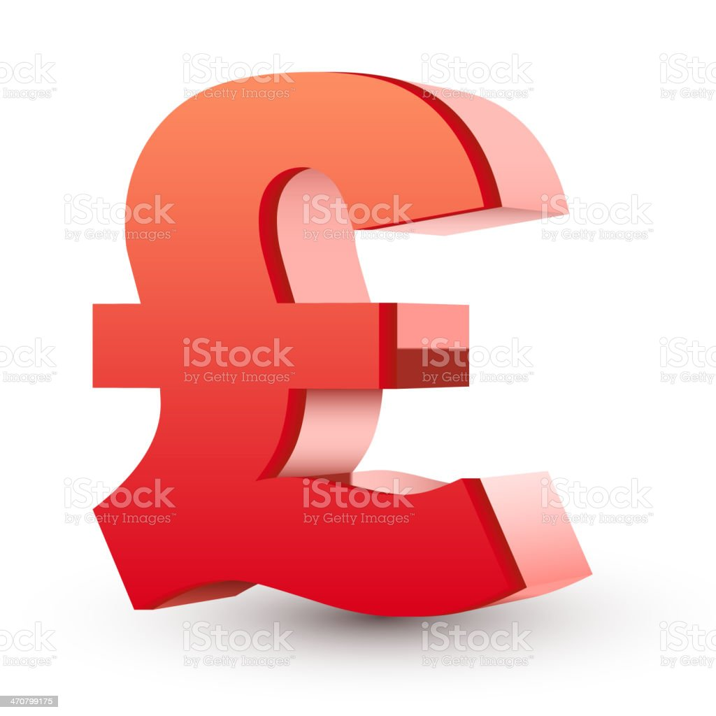 red pound symbol vector art illustration