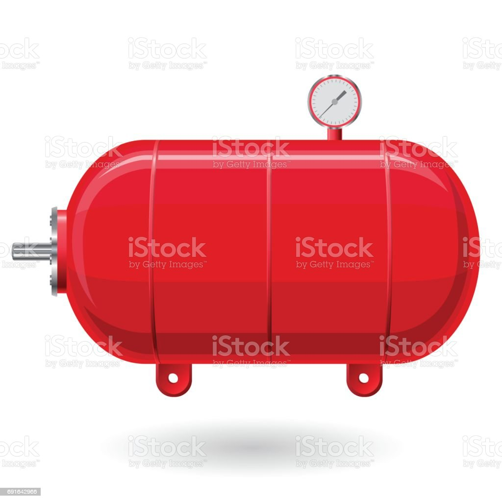 Red pressure vessel for water, gas, air. Pressure tank for storage of material. vector art illustration