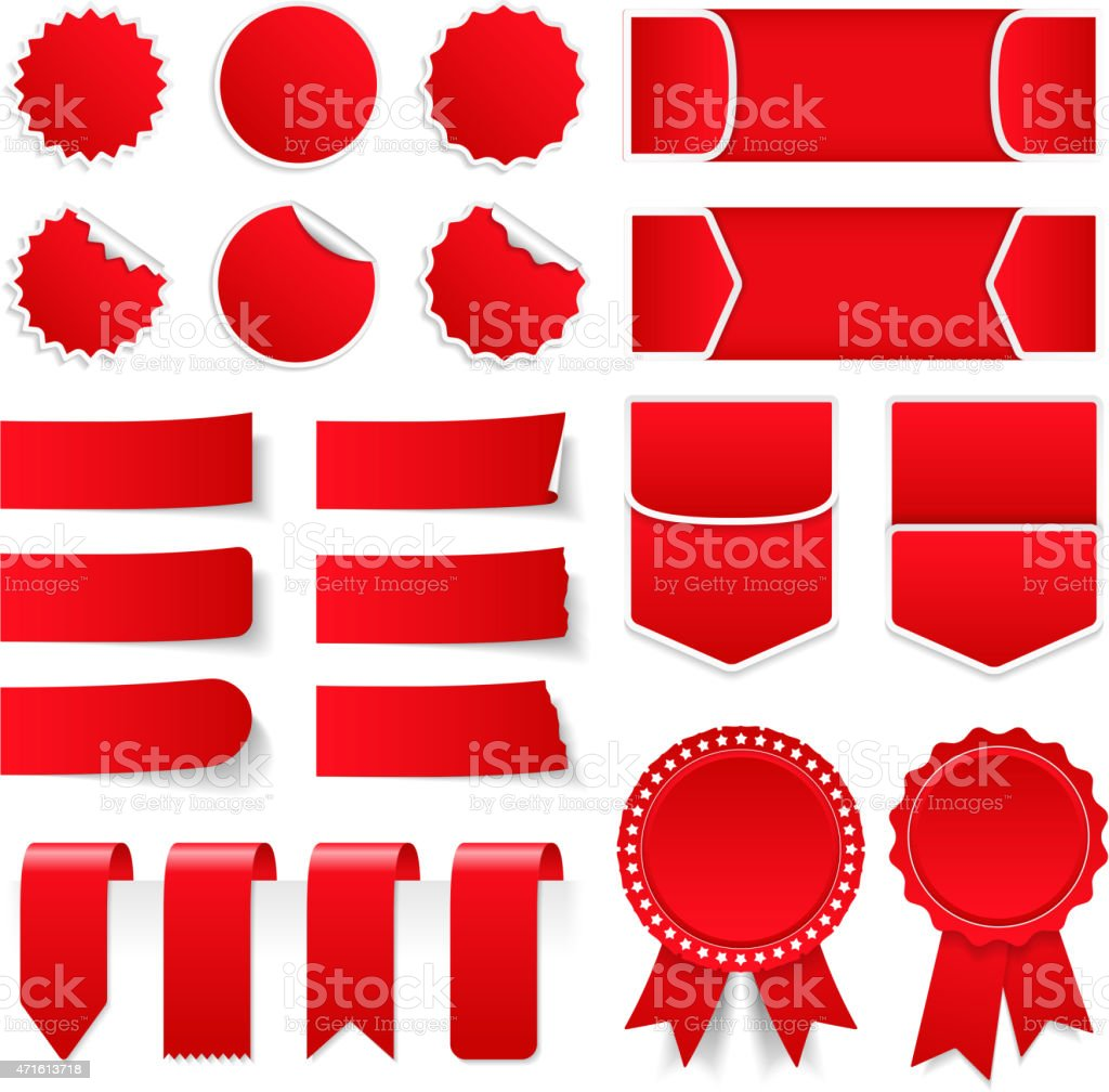 Red Price Tags and Stickers vector art illustration