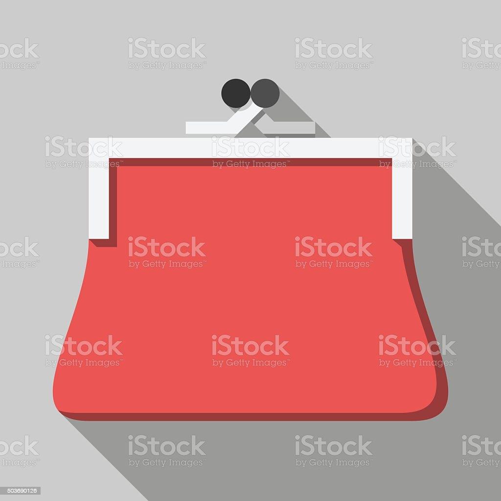 Red purse, long shadow vector art illustration