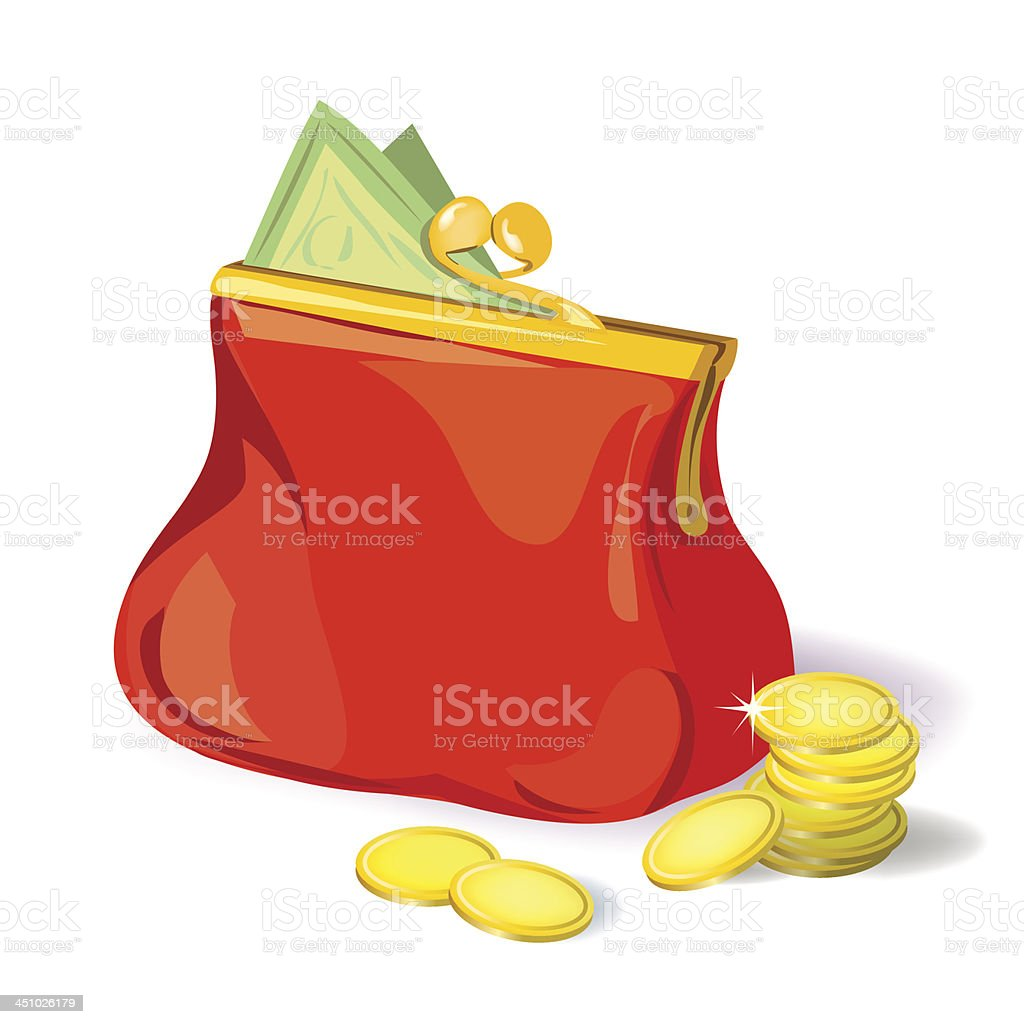 red purse with money royalty-free stock vector art