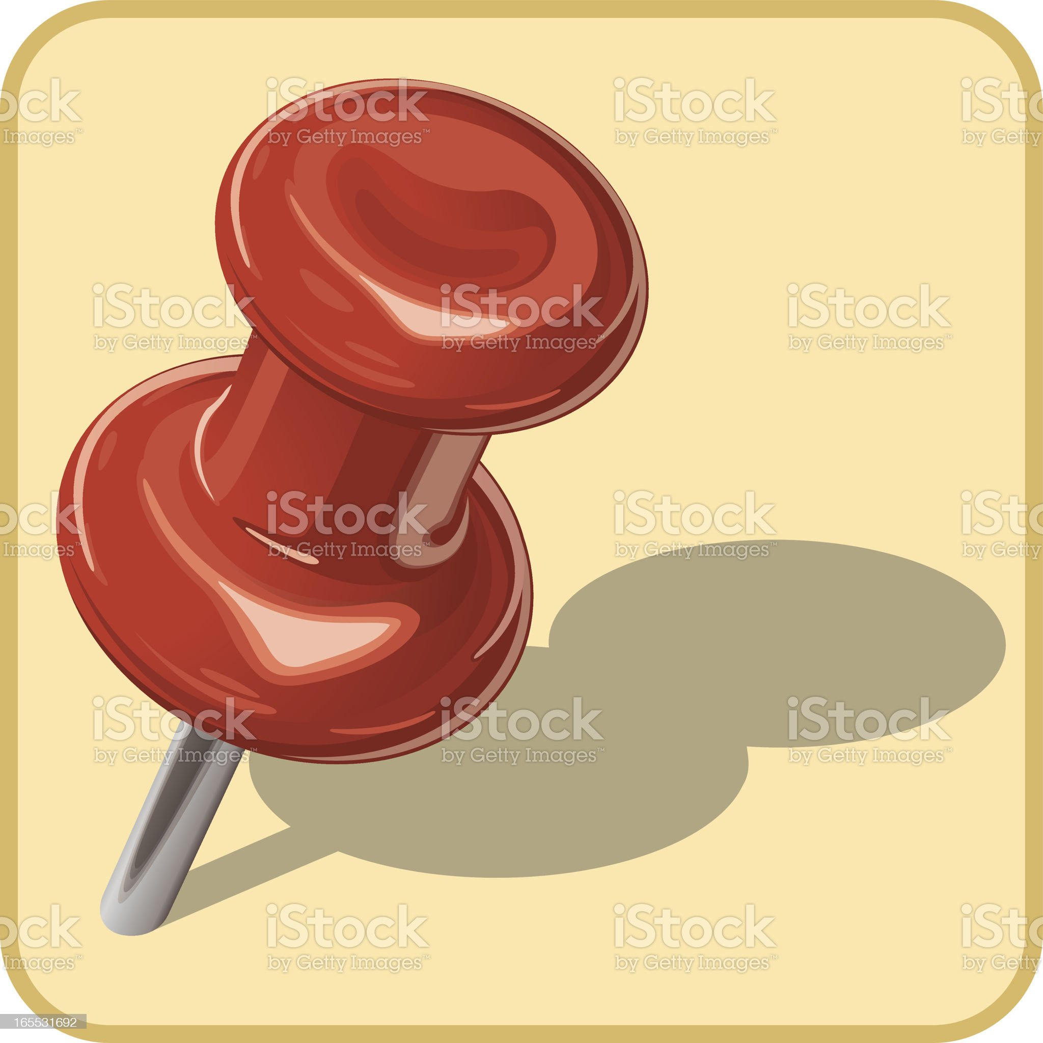 Red Pushpins & Yellow Sticky Note royalty-free stock vector art