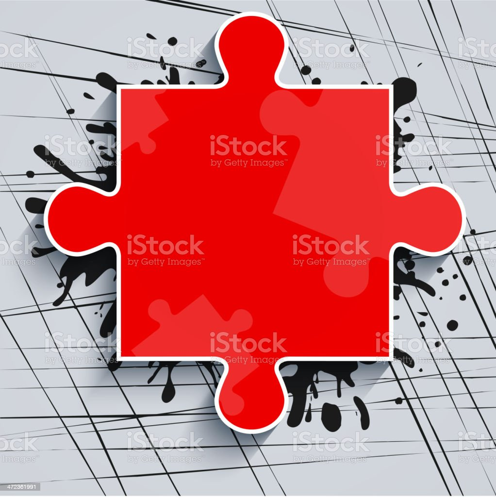 Red puzzle piece in the bright spot of paint. royalty-free stock vector art