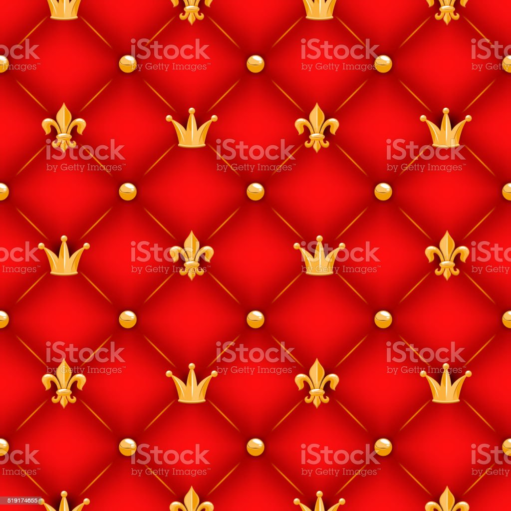 Red quilted texture with golden crowns, lilies and buttons. vector art illustration