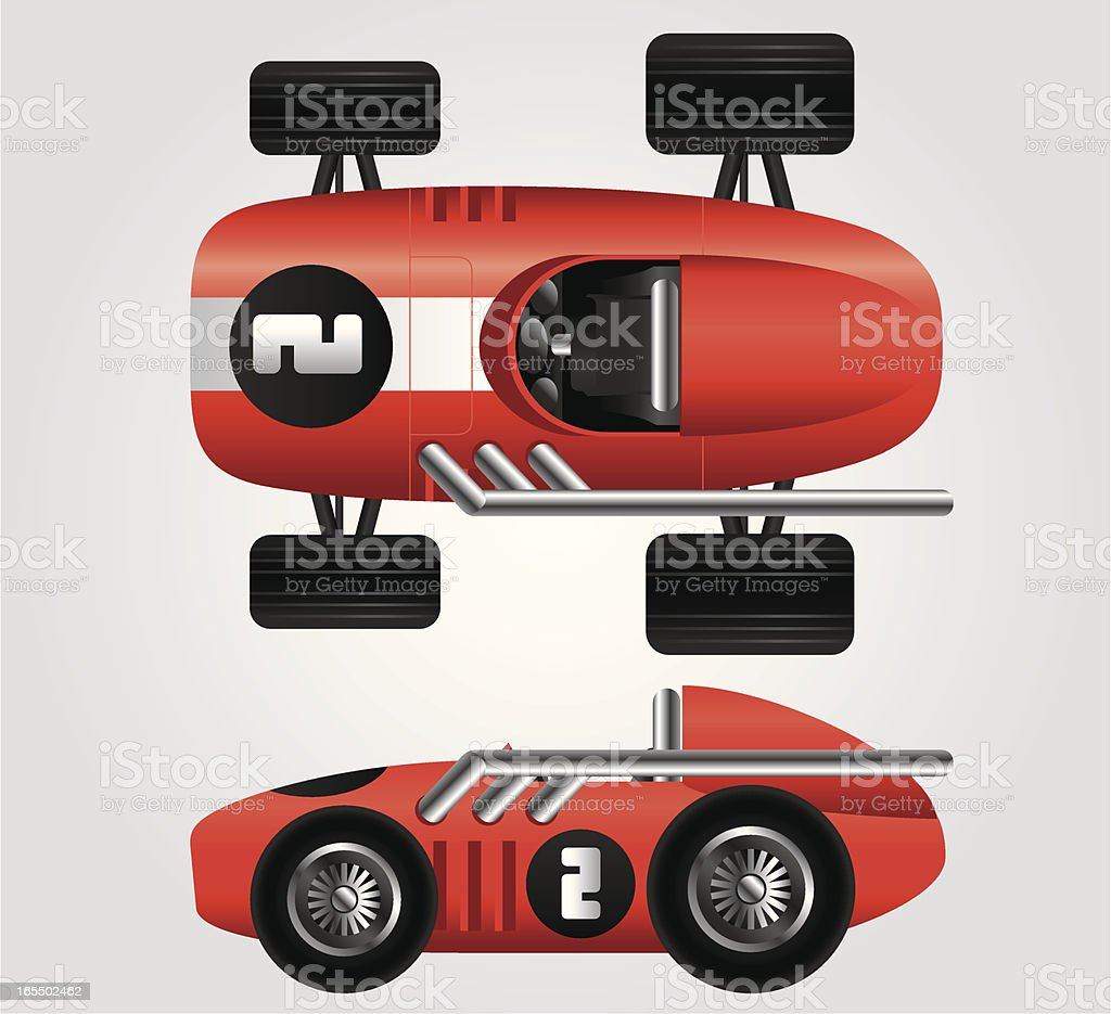 Red race car viewed from the side and top royalty-free stock vector art