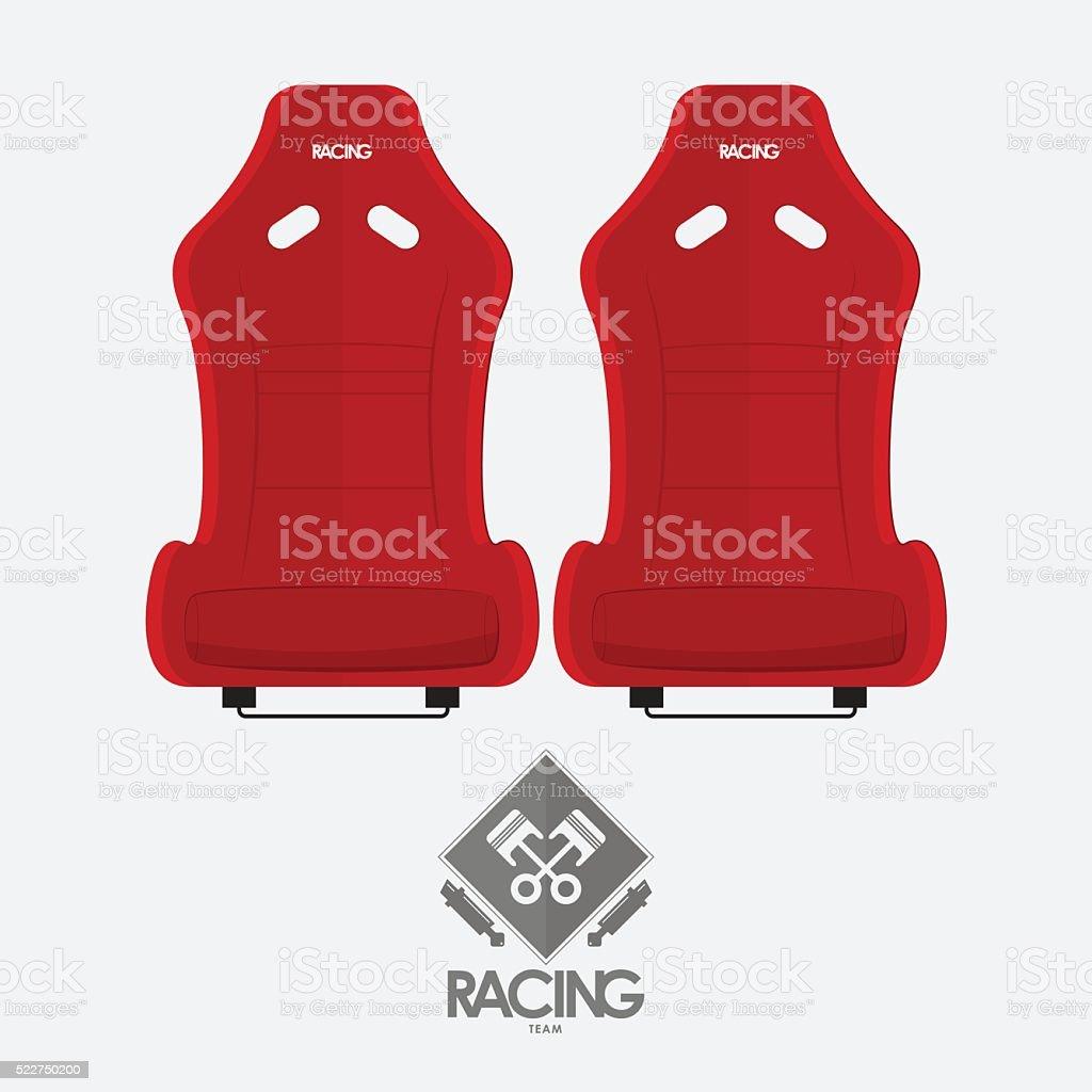 Red racing bucket seats in flat design.Vector. vector art illustration