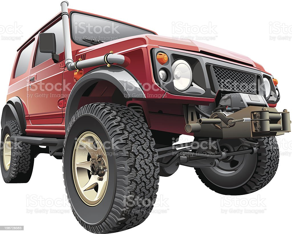 Red Rally Jeep vector art illustration