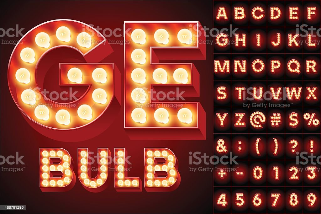 Red realistic old lamp alphabet for light board vector art illustration