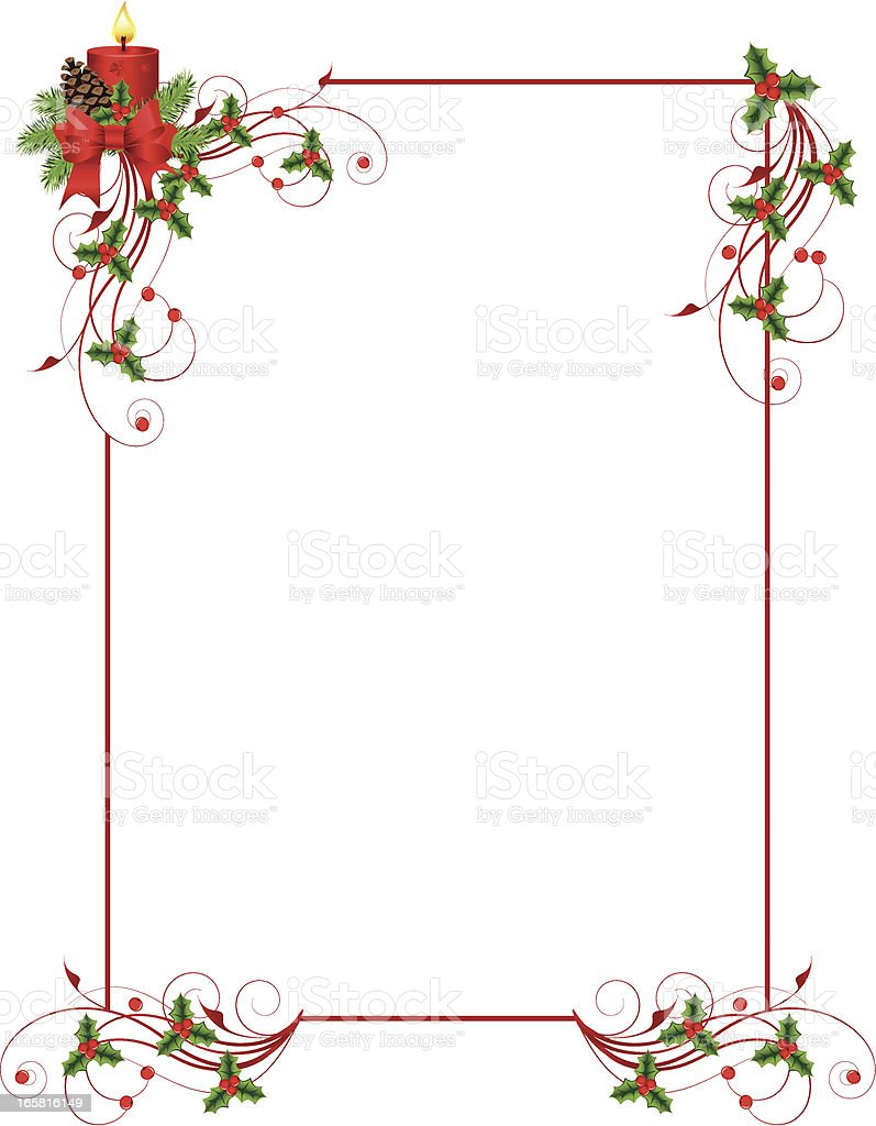 Red rectangular frame with Christmas decorations vector art illustration