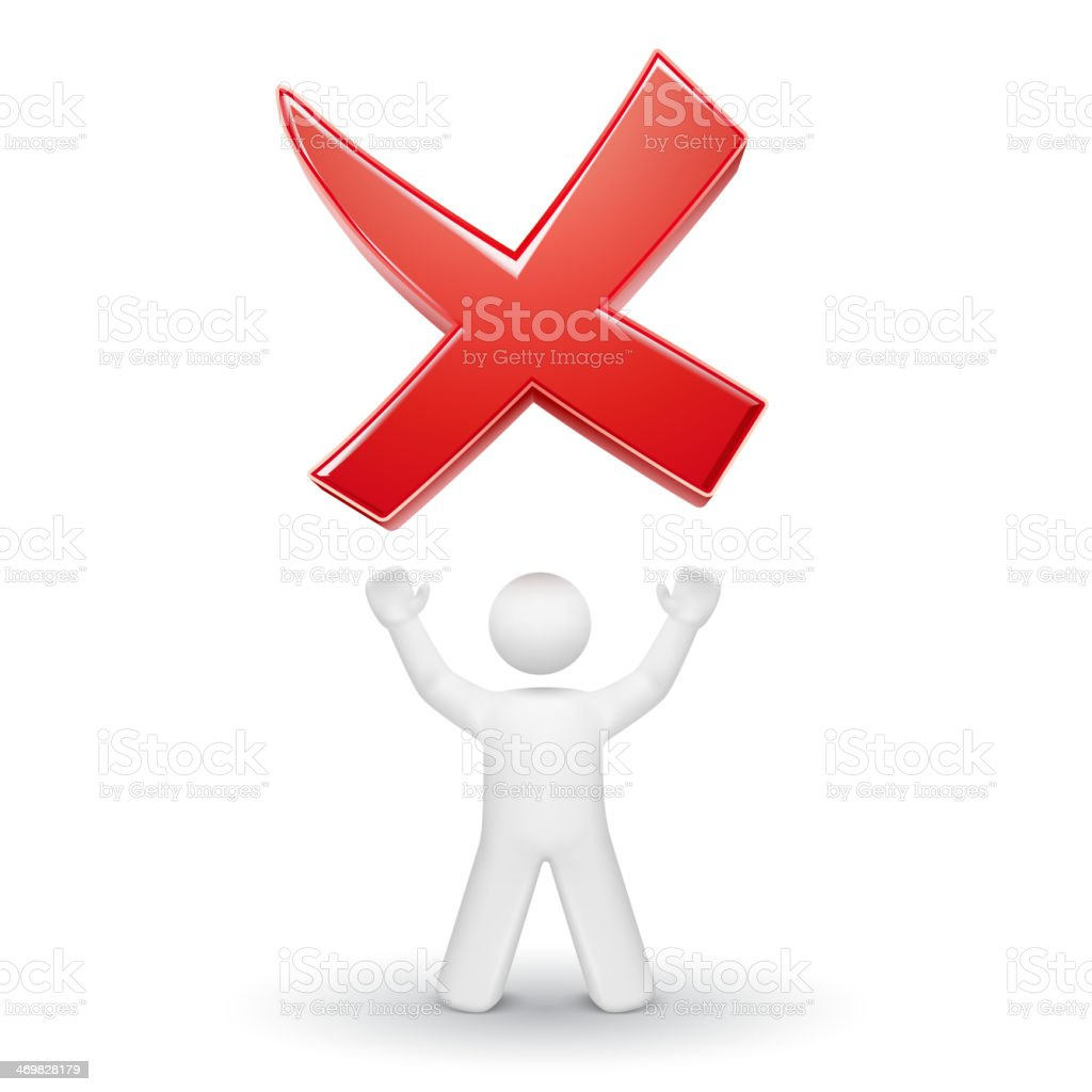 Red rejected mark floating over a 3D person royalty-free stock vector art