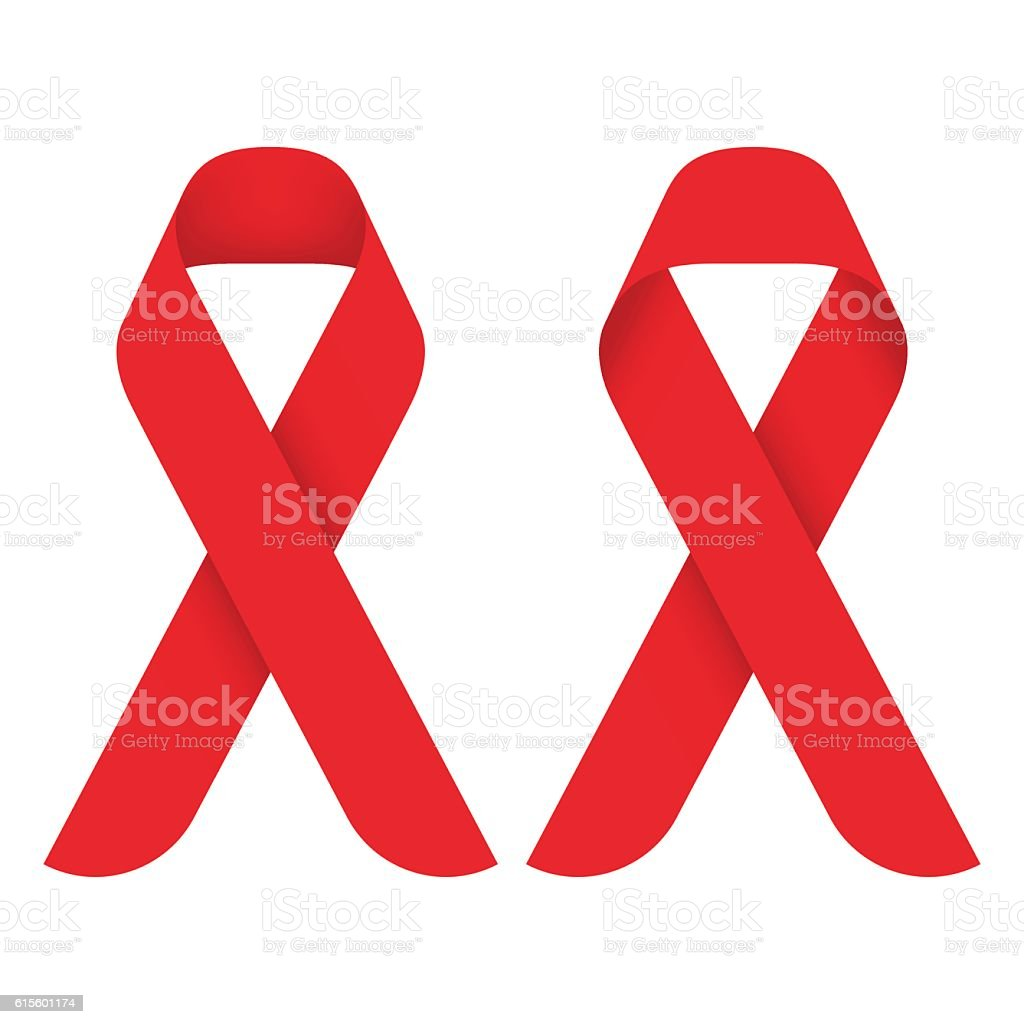 Red ribbon AIDS, HIV icon illustration, front and back side vector art illustration