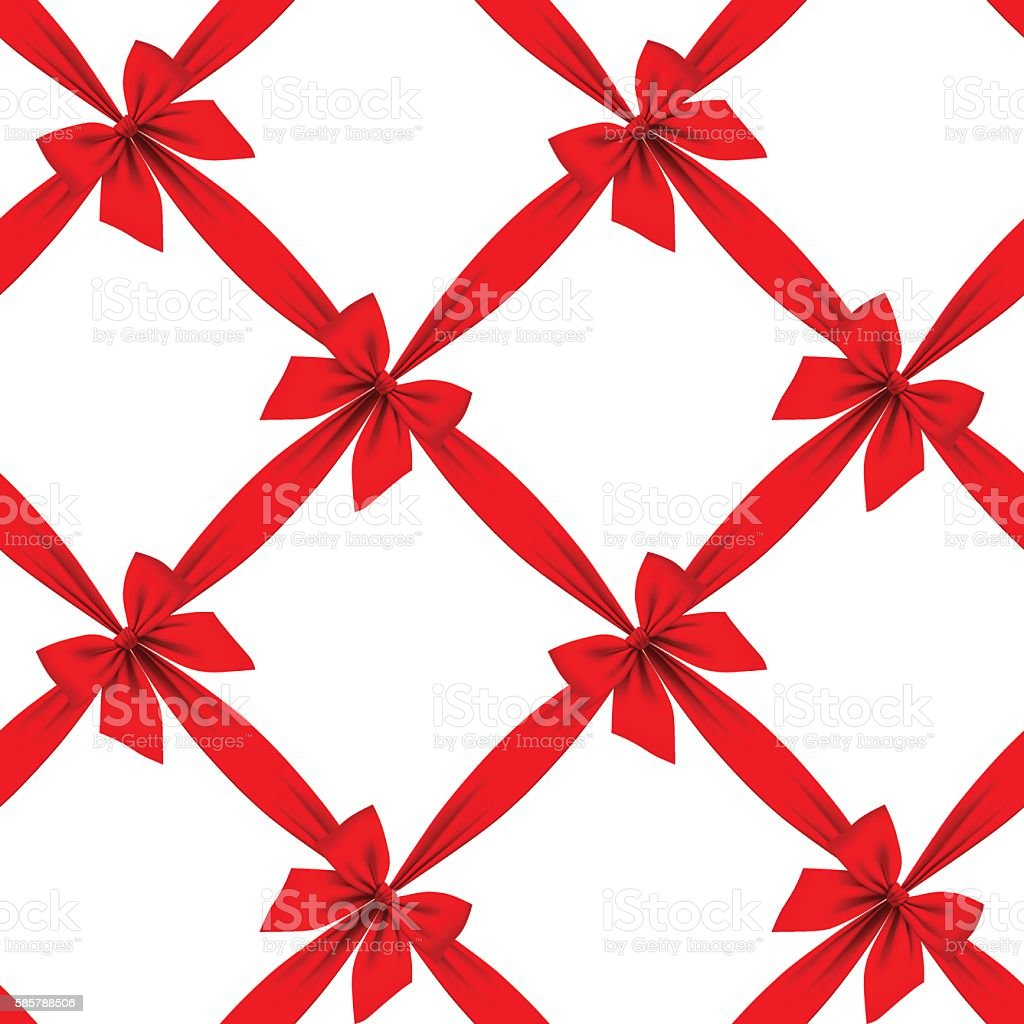 Red ribbon and bow grid seamless pattern background vector art illustration