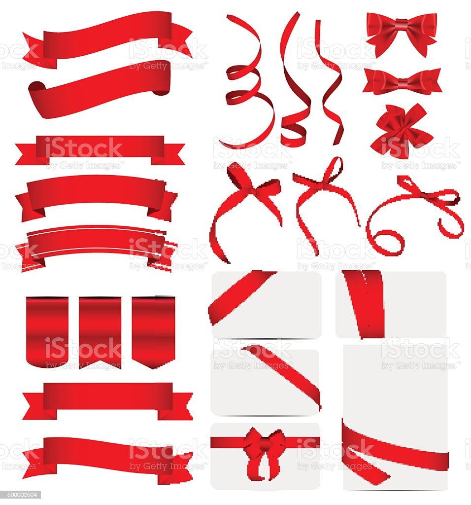 Red Ribbon and Bow Set. Vector illustration vector art illustration