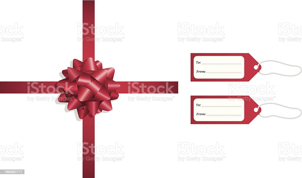 Red Ribbon and Tags vector art illustration