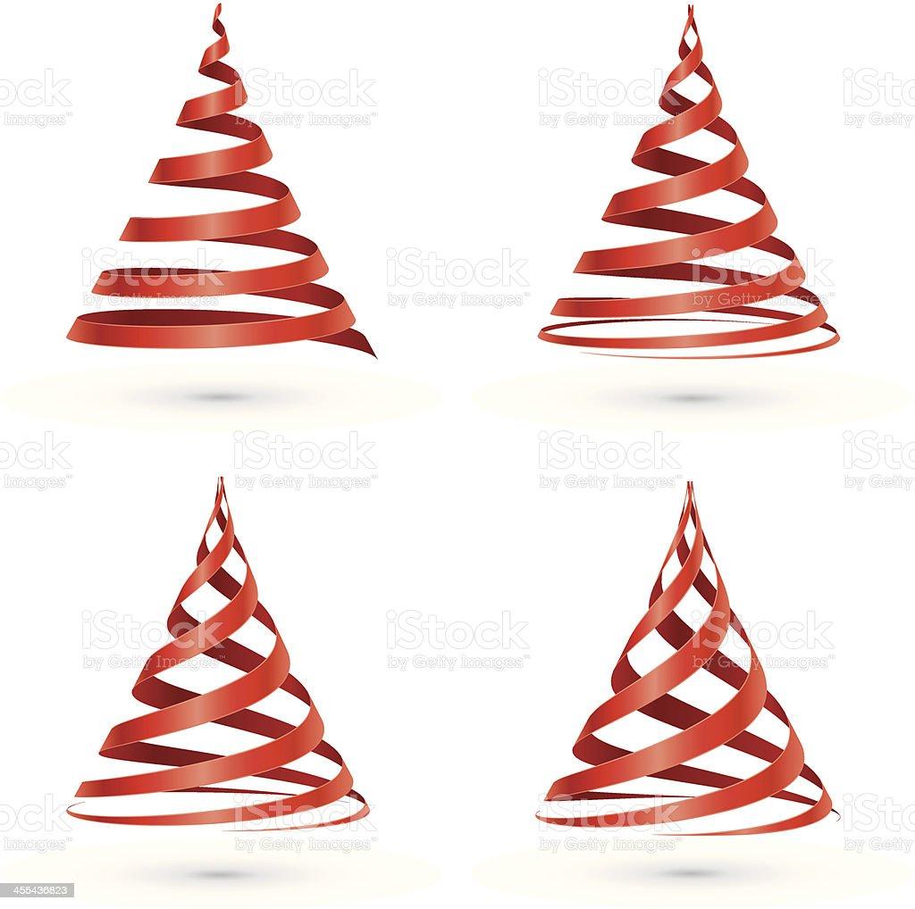Red ribbon Christmas tree vector art illustration