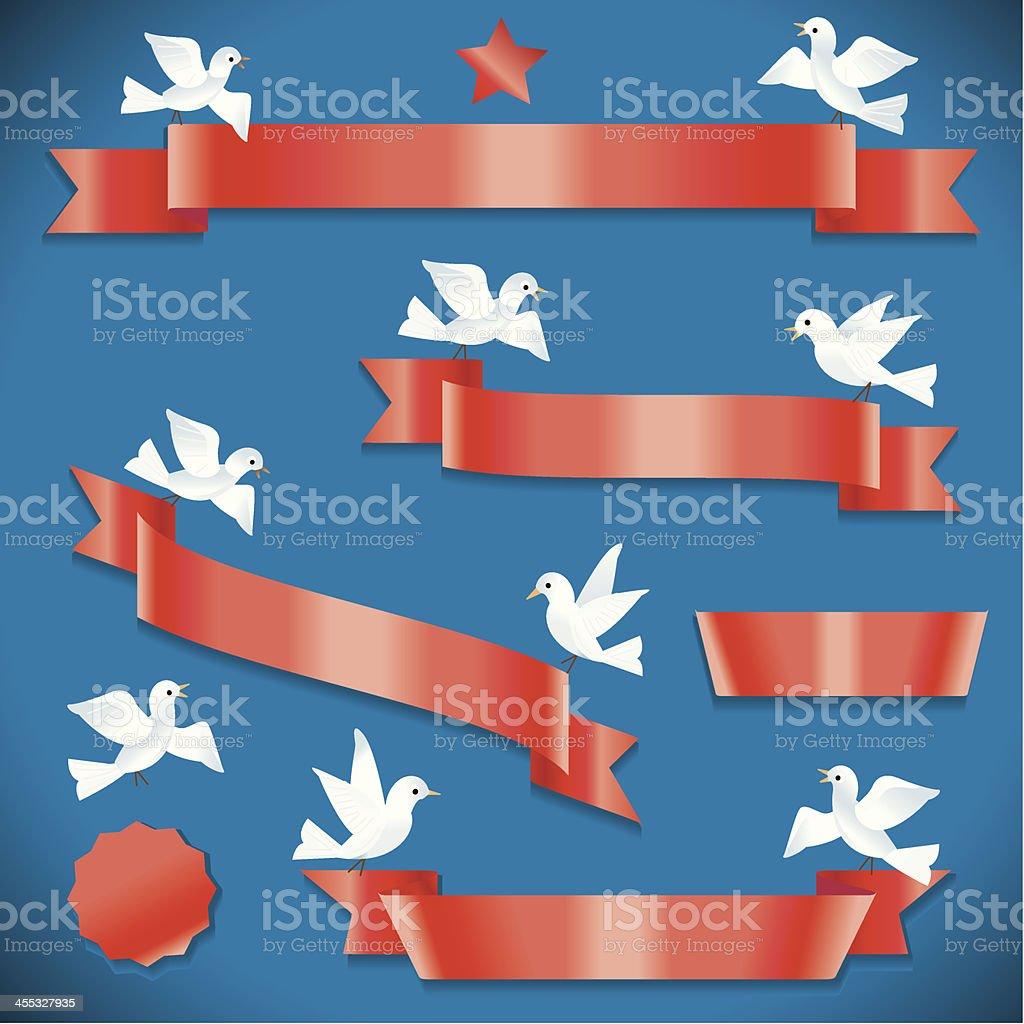 Red Ribbon Message vector art illustration