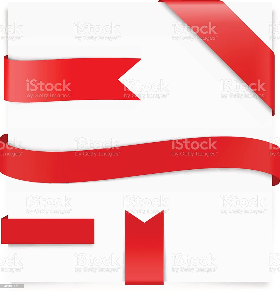 Red ribbon on white background. Vector illustration. Web elements vector art illustration