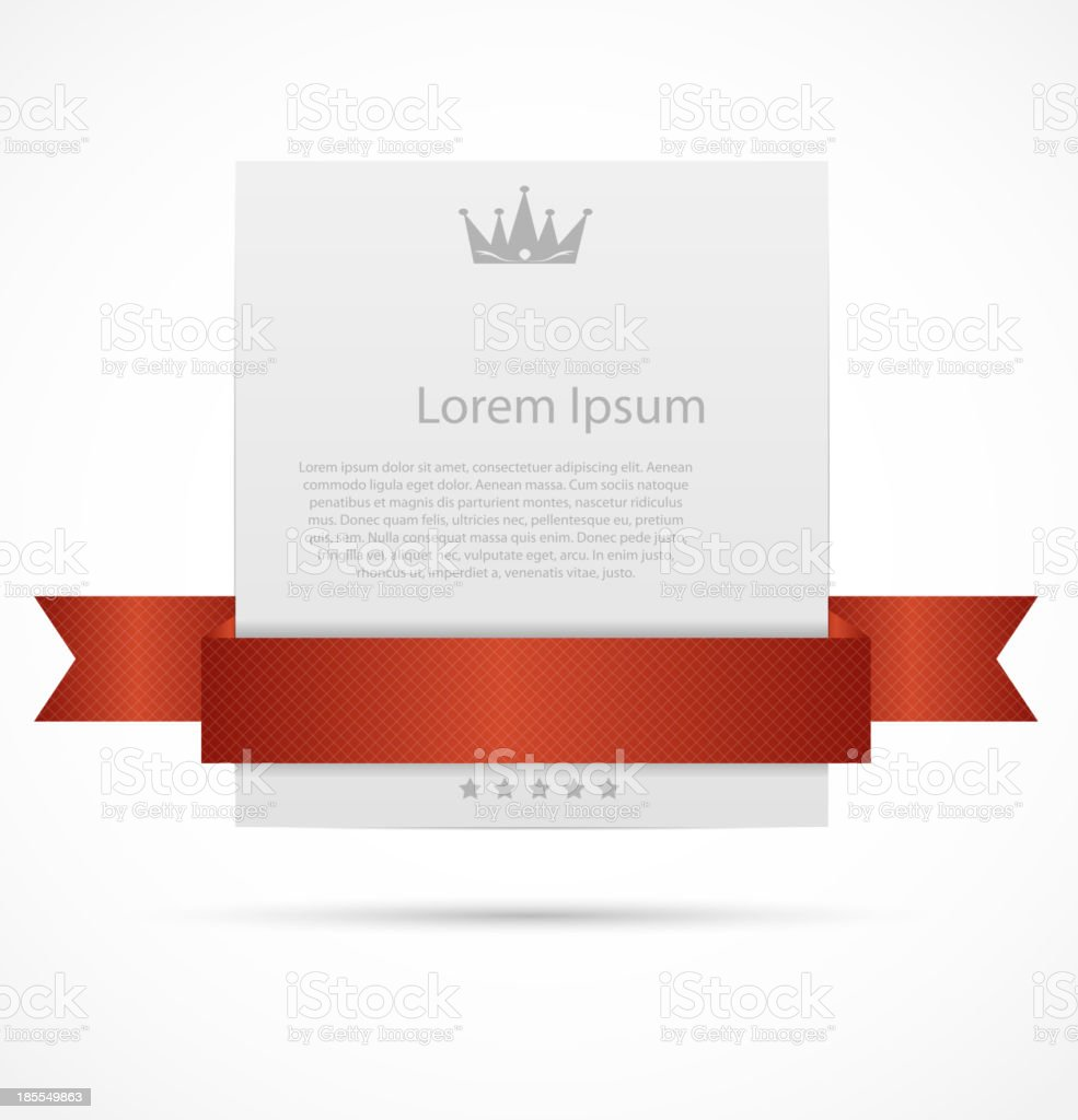 Red ribbon over white card as a sample for posters  vector art illustration