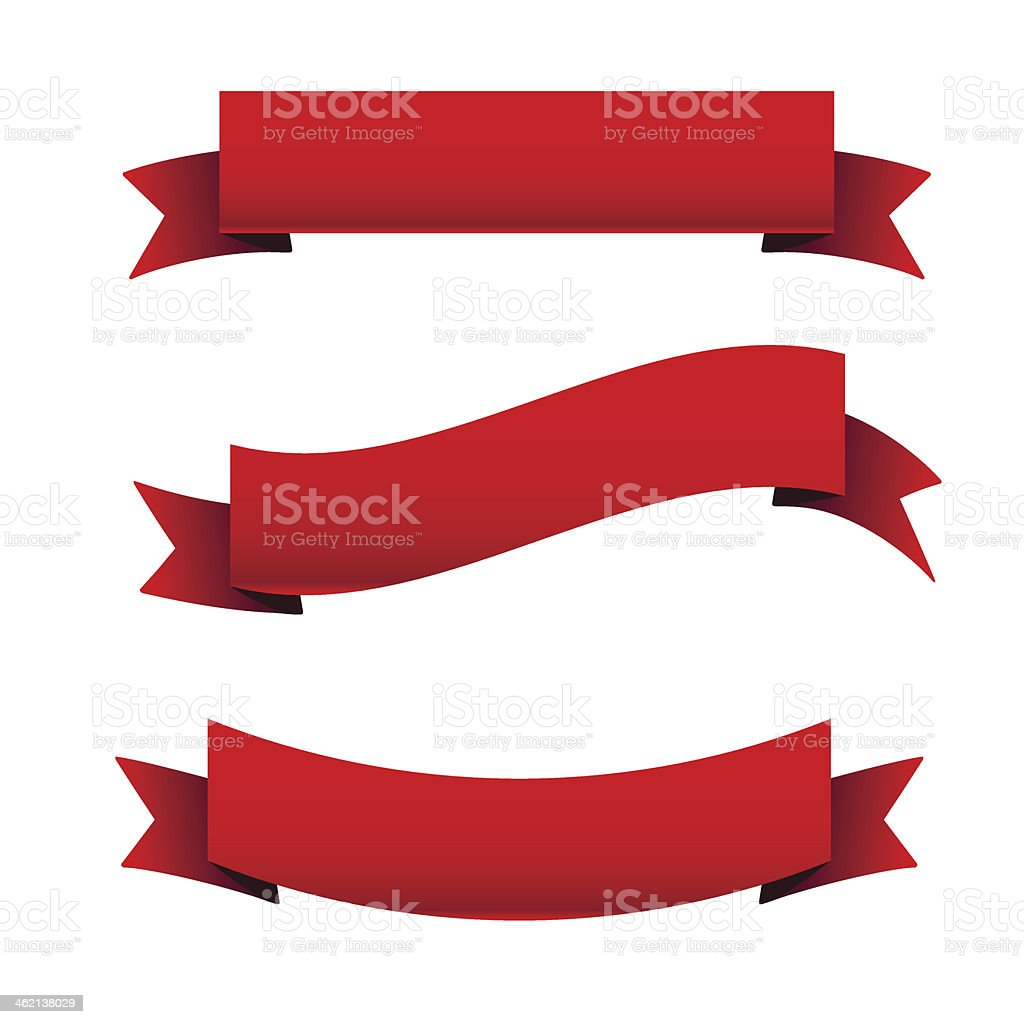Red ribbon set vector art illustration