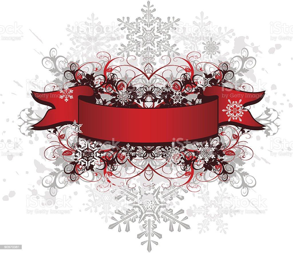 red ribbon  & snowflakes royalty-free stock vector art