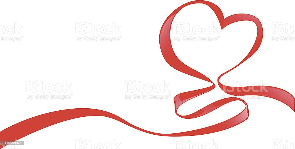 Red ribbon swirled to form a heart on white background royalty-free stock vector art