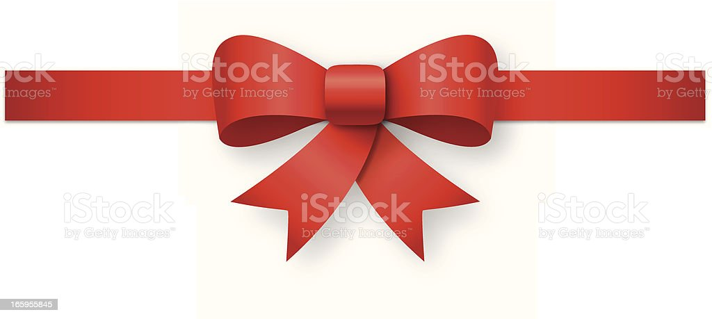 A red ribbon tied against a white background royalty-free stock vector art