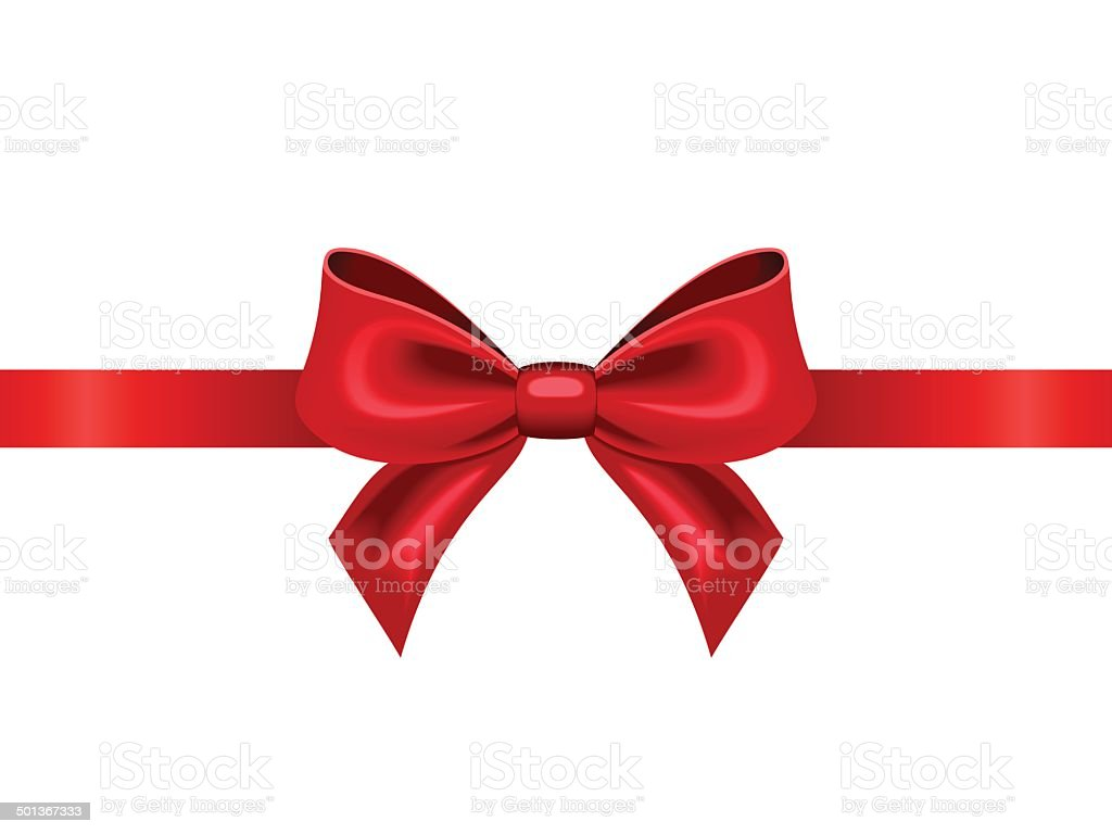 Red ribbon with bow. Vector illustration. vector art illustration