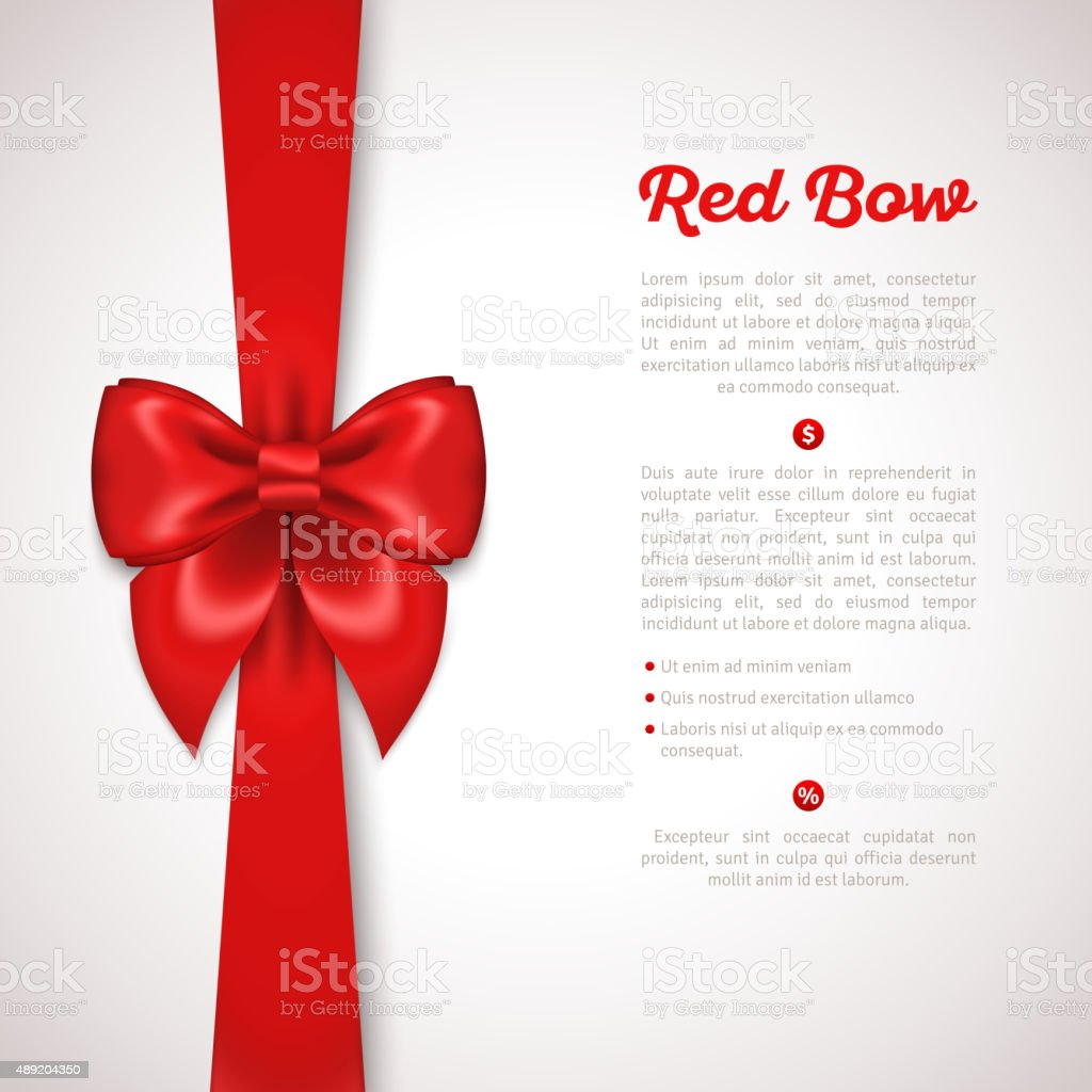 Red Ribbon with Satin Bow Isolated on White. vector art illustration