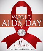 Red Ribbon with Silver Badge Commemorating World AIDS Day