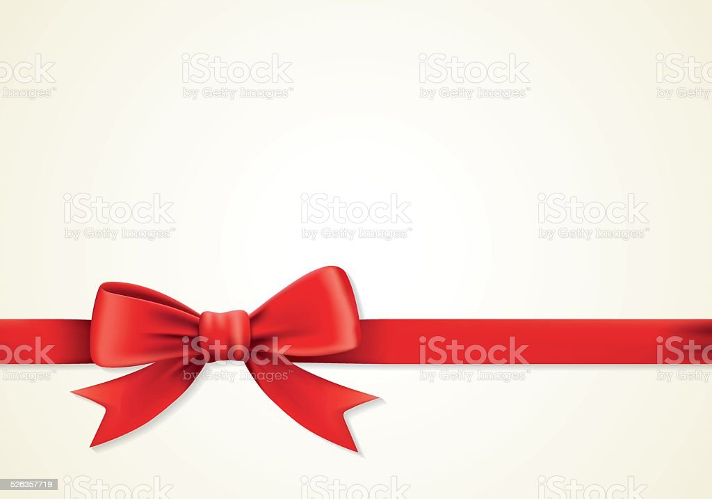 Red ribbons and greeting card, bows, celebration vector art illustration